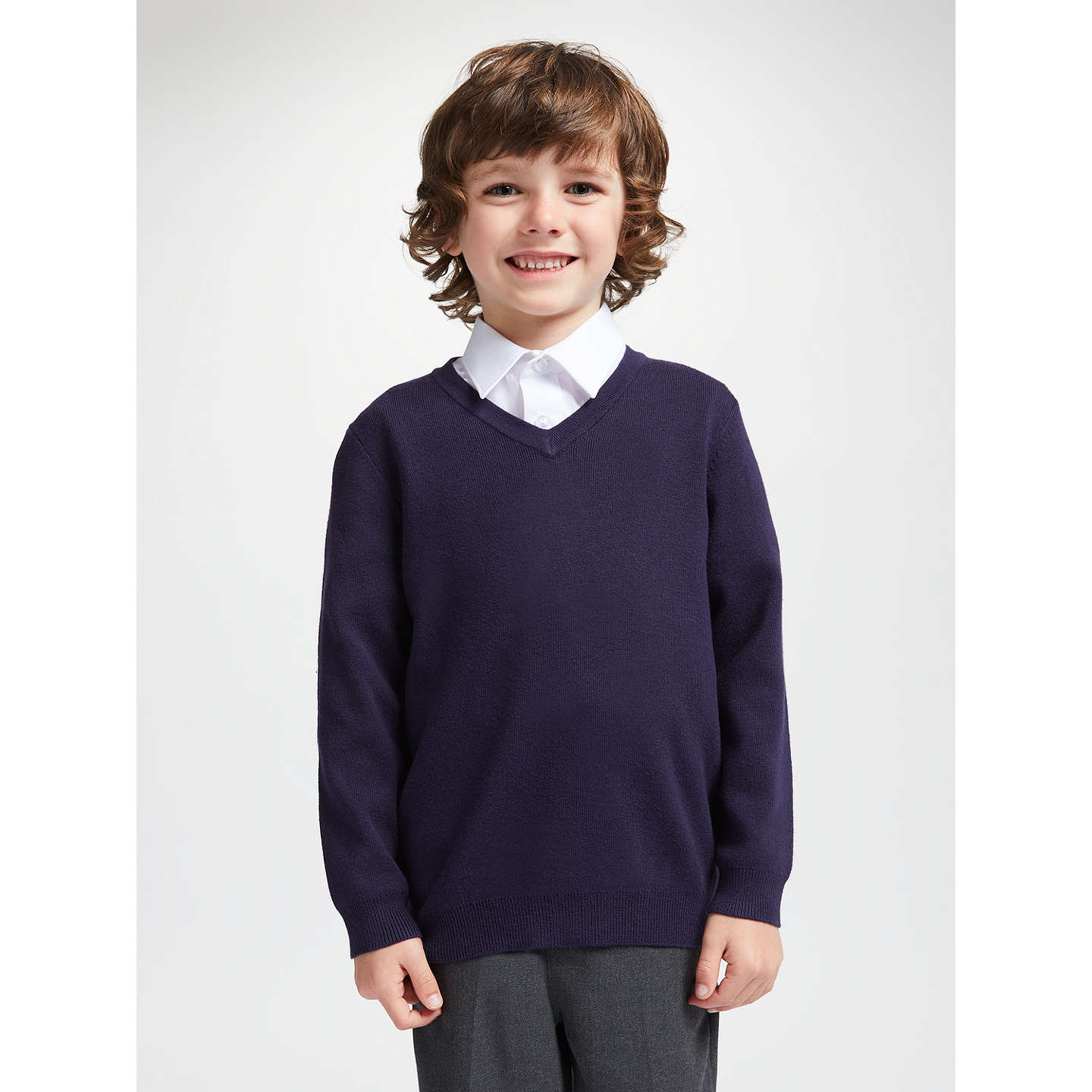 BuyJohn Lewis Unisex School V-Neck Jumper, Navy, 3-4 years Online at johnlewis.com