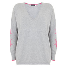 Buy Mint Velvet Star Sleeve Intarsia Knit Jumper, Light Grey Online at johnlewis.com