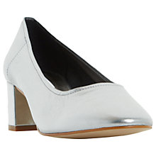 Buy Dune Ana Block Heeled Court Shoes, Pewter Leather Online at johnlewis.com