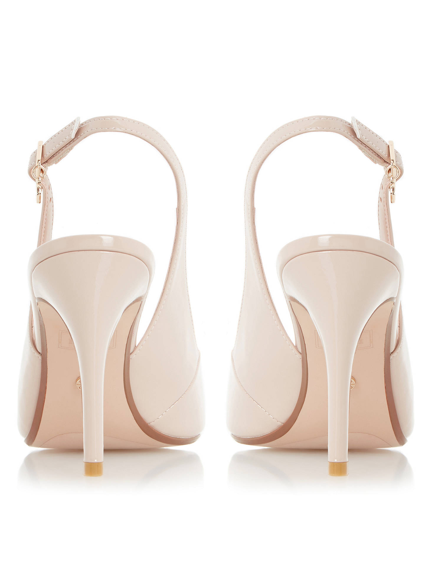 KRISP Nude Patent Sling Back Peep Toe Wedges - Shoes from