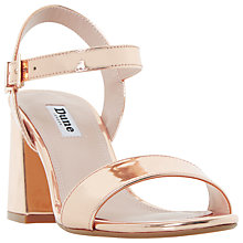 Buy Dune Mylow Block Heeled Sandals, Rose Gold Online at johnlewis.com