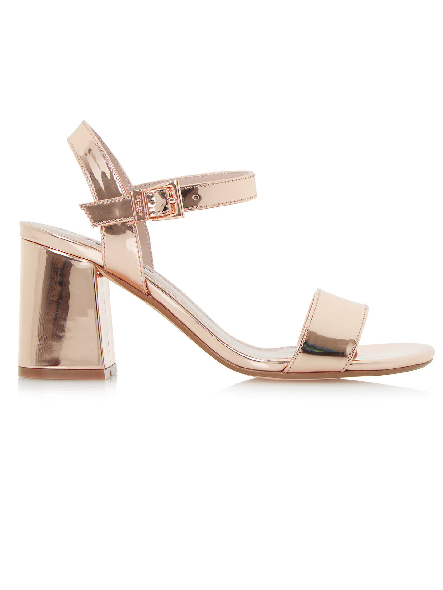 b00c1ae9e5e Dune Mylow Block Heeled Sandals, Rose Gold at John Lewis & Partners