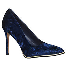 Buy KG by Kurt Geiger Beauty Toe Point Stiletto Court Shoes, Navy Velvet Online at johnlewis.com