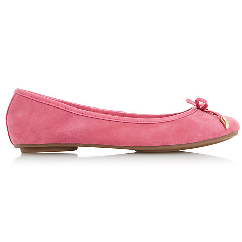 Buy Dune Hype Bow Ballet Pumps, Pink Suede Online at johnlewis.com