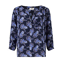 Buy Pyrus Grace Printed Silk Blouse, Navy Online at johnlewis.com