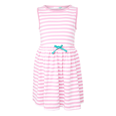 John Lewis Girls' Sleeveless Stripe Striped Dress, Bright Pink/White