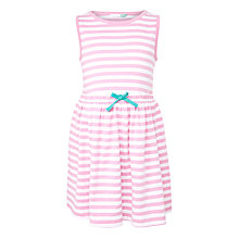 Buy John Lewis Girls' Sleeveless Stripe Striped Dress, Bright Pink/White Online at johnlewis.com