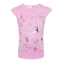 Buy John Lewis Girls' Island Life T-Shirt, Bright Pink Online at johnlewis.com