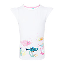 Buy John Lewis Girls' Fish Sequin T-Shirt, Bright White Online at johnlewis.com