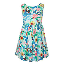 Buy John Lewis Girls' Toucan Print Sleeveless Tropical Dress, Pale Aqua Online at johnlewis.com