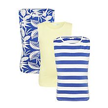Buy John Lewis Girls' Tropical Print T-Shirts, Pack of 3, Blue/Yellow Online at johnlewis.com