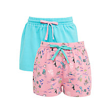 Buy John Lewis Girls' Object Print Shorts, Pack of 2, Pink/Teal Online at johnlewis.com