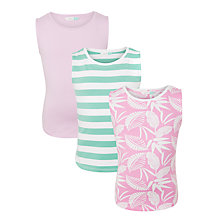 Buy John Lewis Girls' Tropical Print Vest Top, Pack of 3, Bright Pink Online at johnlewis.com