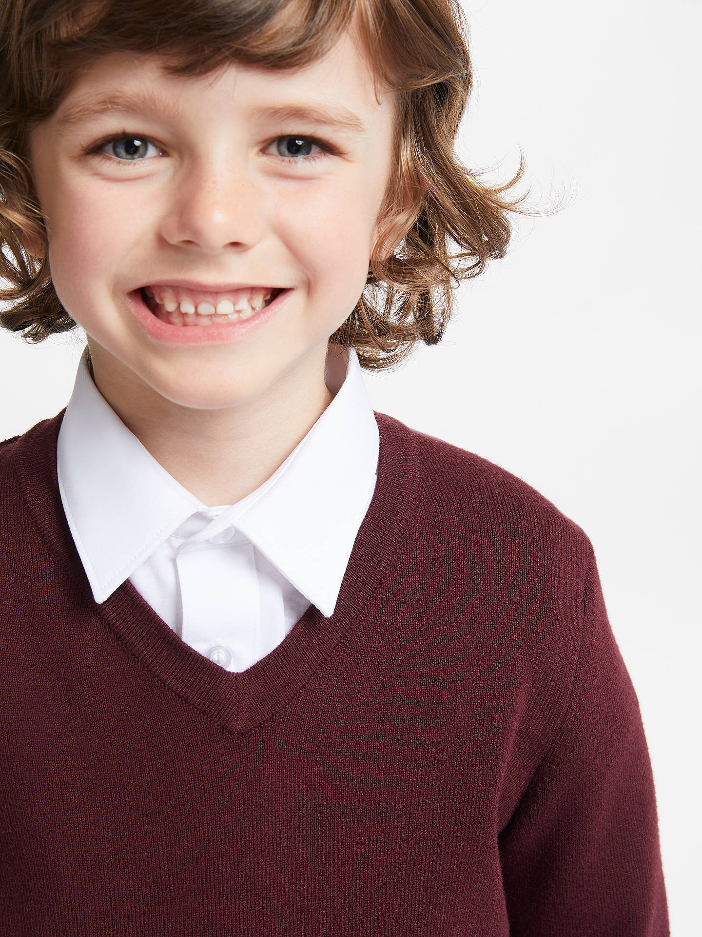 Buy John Lewis & Partners Unisex School V-Neck Jumper, Maroon, 3-4 years Online at johnlewis.com