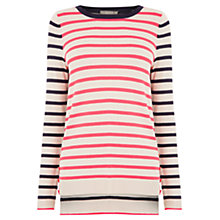 Buy Oasis Double Stripe Button Knit Jumper, Multi Online at johnlewis.com