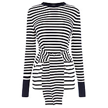 Buy Warehouse Stripe Tie Waist Jumper, Navy Online at johnlewis.com