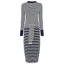Buy Warehouse Stripe Tie Waist Dress, Navy Online at johnlewis.com