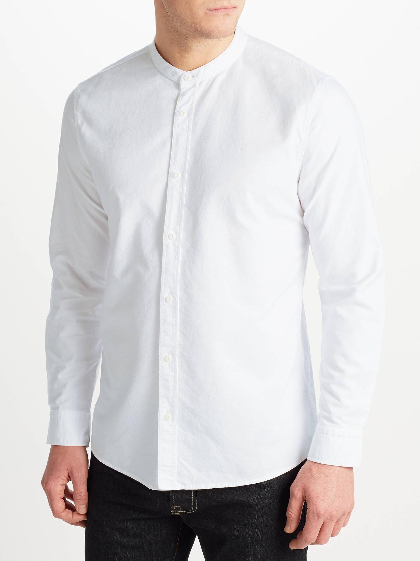 784d39157ebd86 JOHN LEWIS & Co. Grandad Collar Shirt, White at John Lewis & Partners