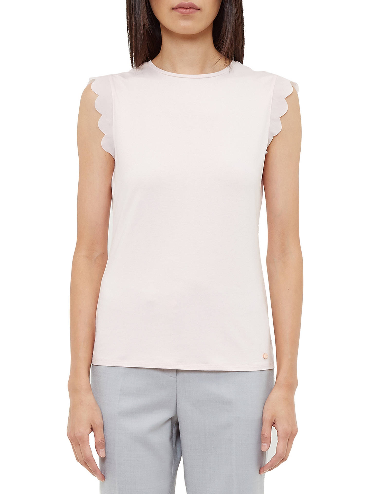 Buy Ted Baker Elliah Scallop Detail Top, Baby Pink, XXS Online at johnlewis.com