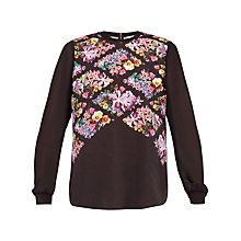 Buy Ted Baker Hayles Lost Gardens Long Sleeve Top, Black Online at johnlewis.com