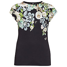 Buy Ted Baker Veeni Gem Gardens Fitted T-Shirt, Black Online at johnlewis.com