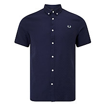 Buy Fred Perry Chequerboard Short Sleeve Shirt, Deep Night Online at johnlewis.com