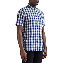 Buy Fred Perry Tartan Gingham Short Sleeve Shirt, White/Blue Online at johnlewis.com