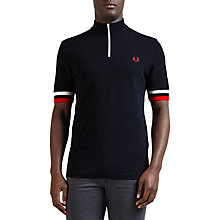 Buy Fred Perry Zipped Contrast Trim Polo Shirt, Navy Online at johnlewis.com