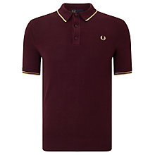 Buy Fred Perry Knitted Tipped Polo Shirt, Rich Mahogany Online at johnlewis.com