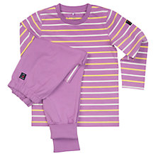 Buy Polarn O. Pyret Girls' Striped Pyjamas Top and Trousers, Purple Online at johnlewis.com