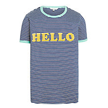 Buy John Lewis Girls' Hello T-Shirt, Navy Online at johnlewis.com