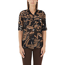 Buy Marc Cain Printed Silk-Blend Shirt, Black/Brown Online at johnlewis.com
