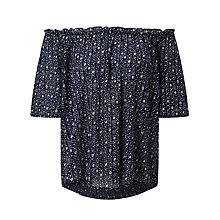 Buy Velvet Bertie Off-Shoulder Top, Navy Online at johnlewis.com