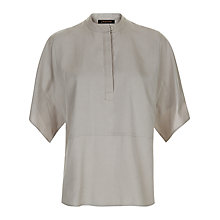 Buy Jaeger Stitch Detail Casual Blouse, Light Grey Online at johnlewis.com