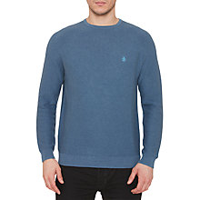 Buy Original Penguin Link Stitch Crew Neck Jumper, Dark Denu Online at johnlewis.com