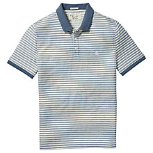 Buy Original Penguin Twill Stripe Slim Polo Shirt, Bering Sea Online at johnlewis.com