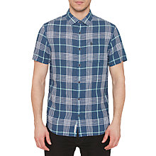 Buy Original Penguin Linen Short Sleeve Check Shirt, Dark Sapphire Online at johnlewis.com
