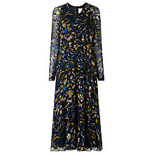 Buy L.K. Bennett Ally Devore Silk Floral Dress, Yellow Online at johnlewis.com