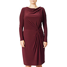 Buy Adrianna Papell Plus Size Knot Front Draped Dress, Bordeaux Online at johnlewis.com