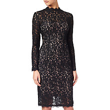 Buy Adrianna Papell High Neck Lace Illusion Dress, Black/Nude Online at johnlewis.com