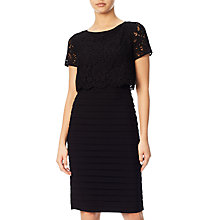 Buy Adrianna Papell Lace Pop Over Banded Dress, Black Online at johnlewis.com