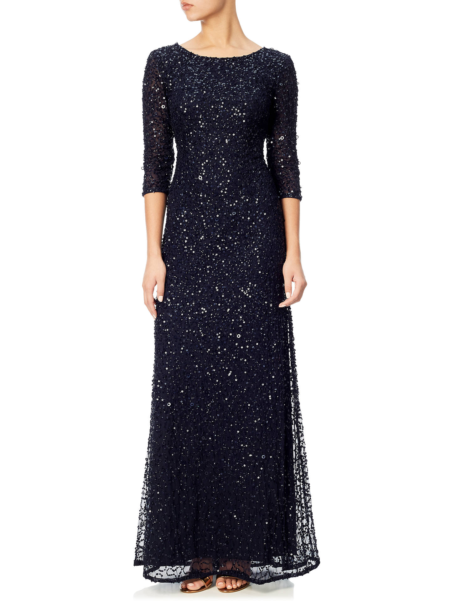 Adrianna Papell 3/4 Sleeve Beaded Mermaid Gown, Navy at John Lewis ...
