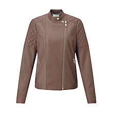 Buy Jigsaw Napa Leather Biker Jacket, Pink Ash Online at johnlewis.com