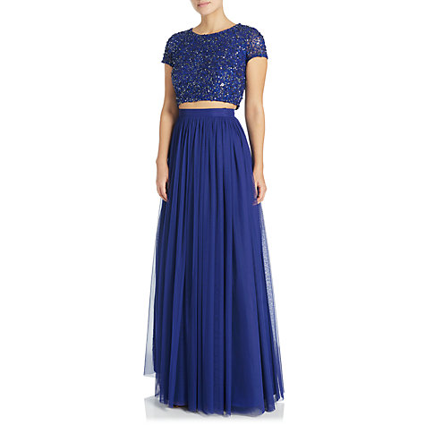 Buy Adrianna Papell Beaded Top And Tulle Skirt Dress, Neptune Online at johnlewis.com