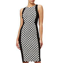 Buy Adrianna Papell Plus Size Jacquard Blocked Sheath Dress, Black/Ivory Online at johnlewis.com