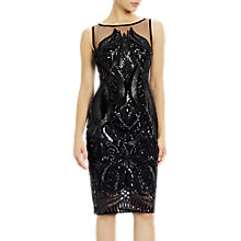 Buy Adrianna Papell Petite Sequin Panel Illusion Cocktail Dress, Black Online at johnlewis.com