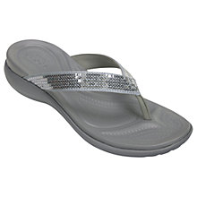 Buy Crocs Capri V Sequin Flip Flops, Silver Online at johnlewis.com