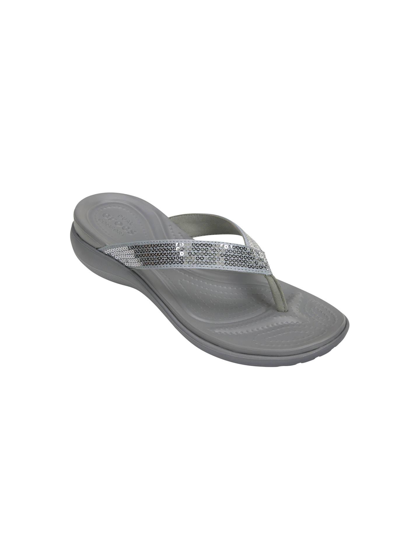 47ab1ad97 Buy Crocs Capri V Sequin Flip Flops, Silver, 4 Online at johnlewis.com ...