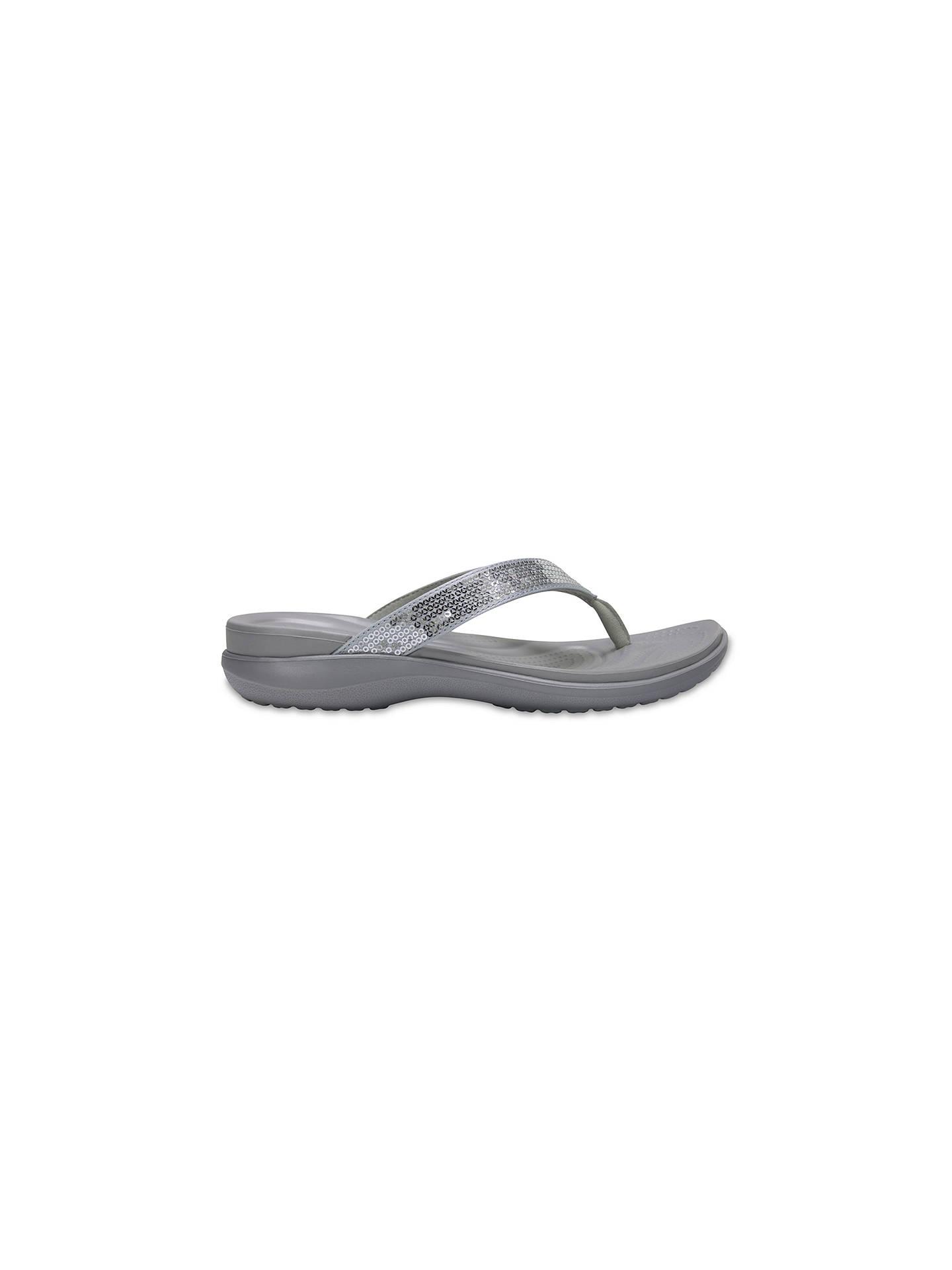 crocs Women/'s Caprivflip Open Back Slippers Floral//Light Grey Grey