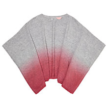 Buy Jigsaw Girls' Ombre Dip Dye Poncho, Coral Blush/Grey Online at johnlewis.com